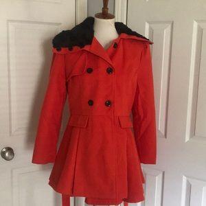 Jackets & Blazers - Ladies Bright Red Wool Coat